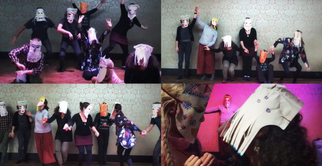 Later on, we used our masks to move around and see how they change our perception. Finally, we recorded a couple of videos that documented our abstract performances using elements of Greek Theatre.